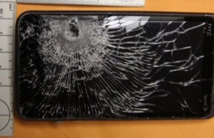 Cell phone blocks bullet