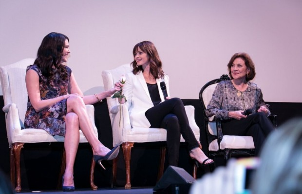 """Photo provided by http://sharpheels.com/2015/06/gilmore-girls-reunion-in-atx/ Series stars Lauren Graham, Alexis Bledel and Kelly Bishop discuss their days on """"Gilmore Girls"""" in front of a sold-out crowd at the Paramount Theater in Austin last June."""