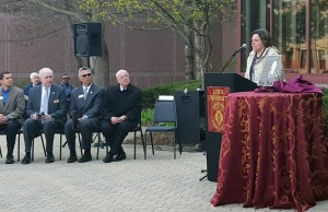 Photo by Dominick Liberatore Jill Siegfried speaks after the unveiling of a new plaque to honor the late Br. Delahanty.