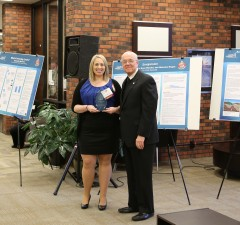Photos courtesy of Lewis University Marketing and Communications Samantha Brain won first place in the graduate student category.