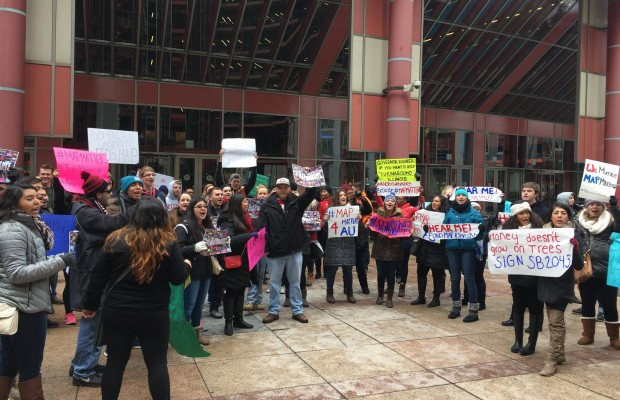 "Photo courtesy of Dr. Jordan Humphrey Students rally after the ""Stuff the Box"" initiative for MAP grant funding on February 16 in downtown Chicago."
